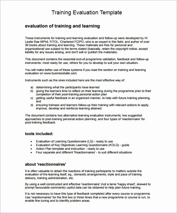 Training Evaluation forms Template New 9 Training Evaluation form Sample – Free Examples & format