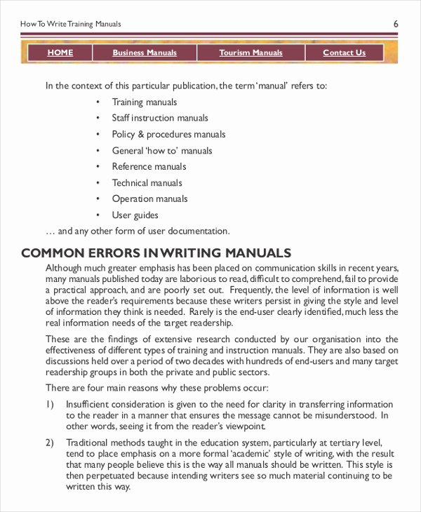 Training Manual Template Word New Instruction Manual Template 10 Free Word Pdf Documents