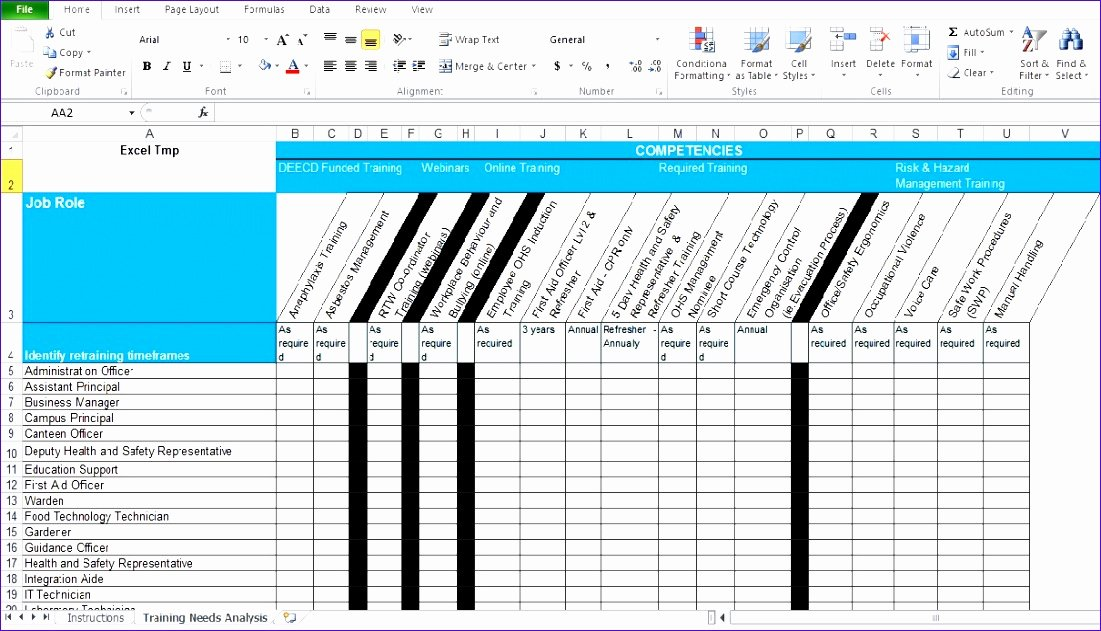 Training Matrix Template Excel Lovely 10 Training Matrix Excel Template Exceltemplates