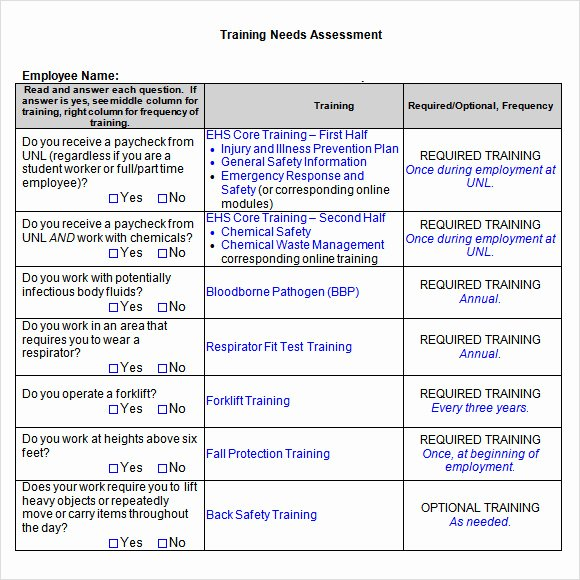 Training Needs Analysis Template Beautiful Training Needs assessment 14 Download Free Documents In