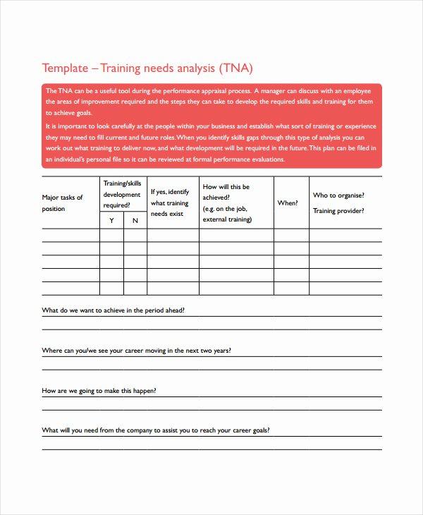 Training Needs Analysis Template Elegant Training Needs Analysis form Template Alfonsovacca