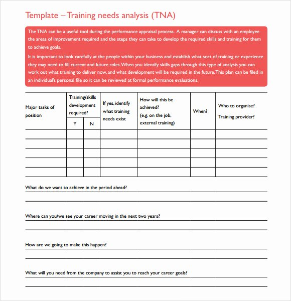 Training Needs Analysis Template Inspirational 11 Training Needs assessment Samples