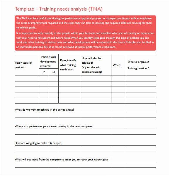 Training Needs Analysis Template Inspirational 11 Training Needs assessment Samples