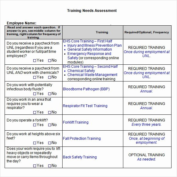 Training Needs Analysis Template Lovely Nursing Petency Checklist