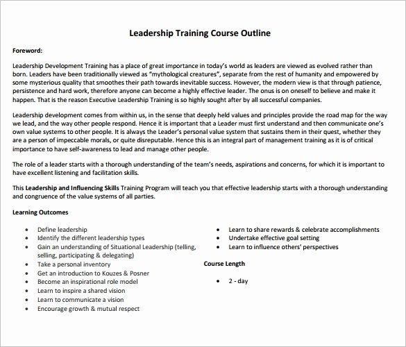 Training Outline Template Word Elegant 14 Training Course Outline Template Doc Pdf