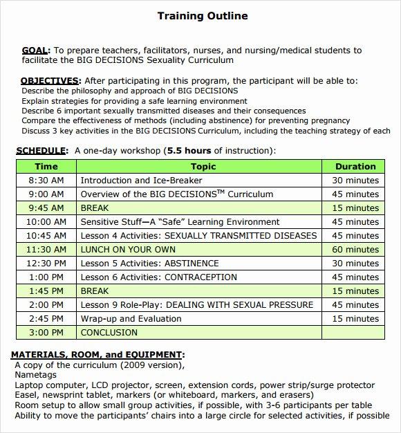 Training Outline Template Word Elegant Training Outline Template 7 Download Free Documents In