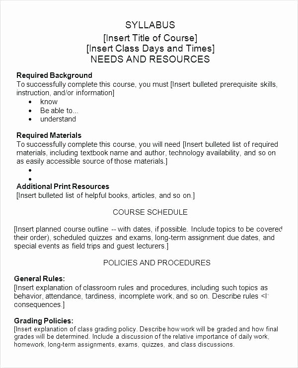 Training Outline Template Word Fresh Syllabus for Standards Training Sample Course Outline