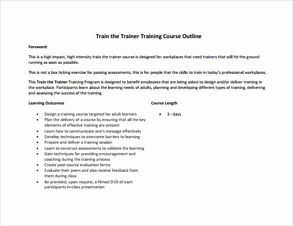 Training Outline Template Word Fresh Training Outline Template 7 Download Free Documents In