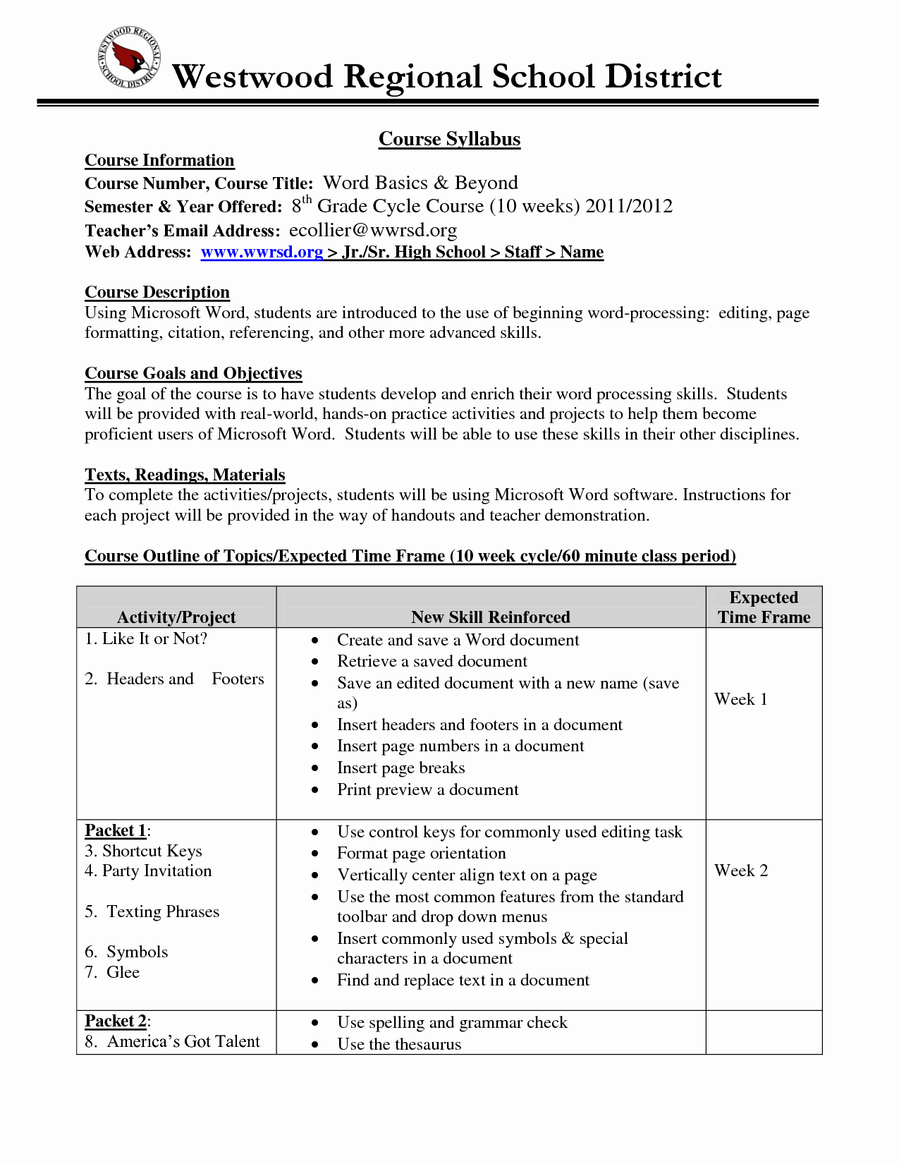 Training Outline Template Word Inspirational 10 Best Of Syllabus Template Word Course Syllabus