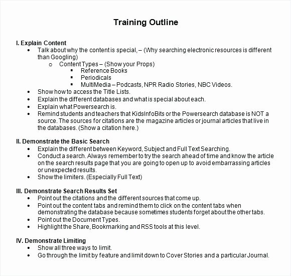 Training Outline Template Word New Curriculum Outline Template Training Program format Resume