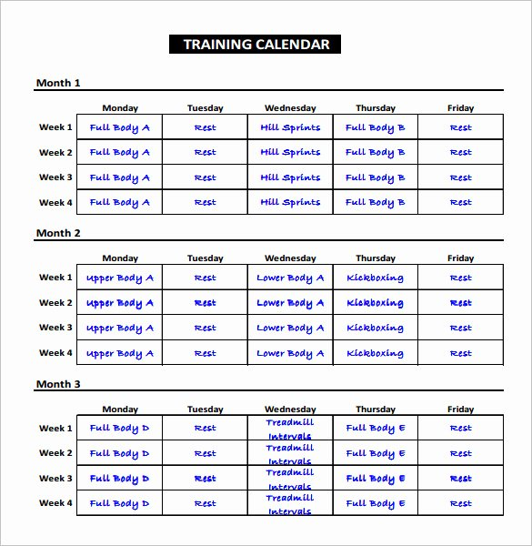 Training Plan Template Excel Lovely Exercise Schedule Template – 7 Free Word Excel Pdf