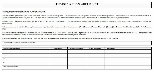 Training Plan Template Excel New Training Checklist Template 15 Free Word Excel Pdf