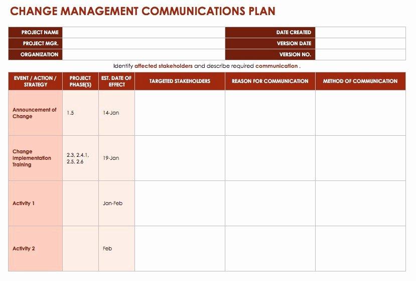 Transition Management Plan Template Elegant Free Change Management Templates