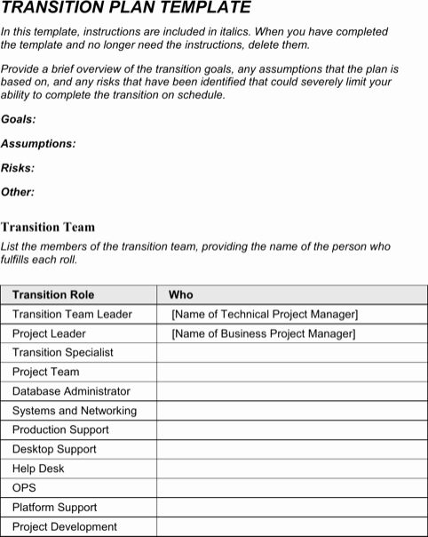 Transition Management Plan Template New Transition Plan Template Templates&forms