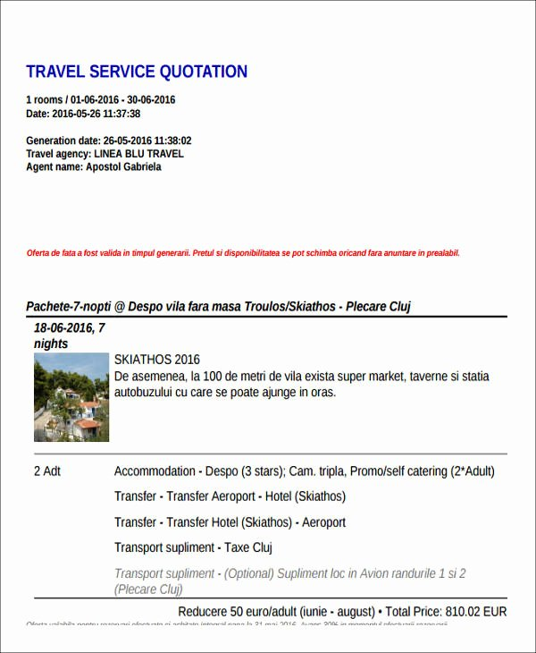 Travel Agent Quote Template Awesome 43 Quotation Samples In Pdf