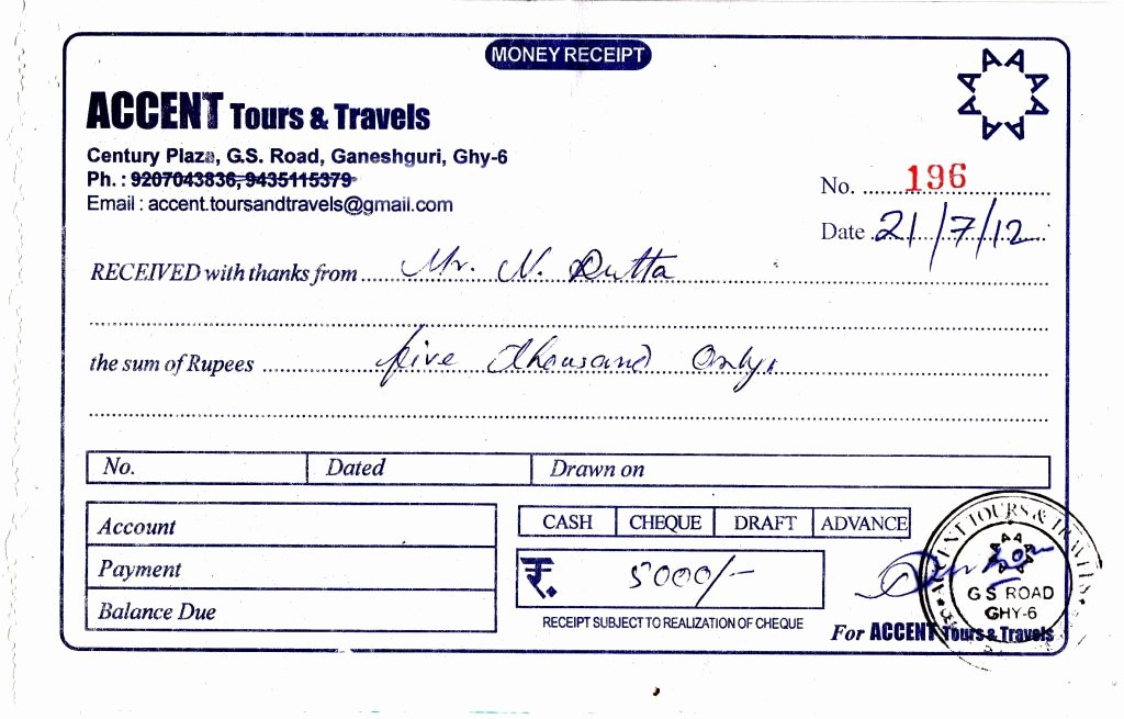 Travel Agent Quote Template Luxury Travel Receipt format Nilim Dutta Accent tours Travels 2