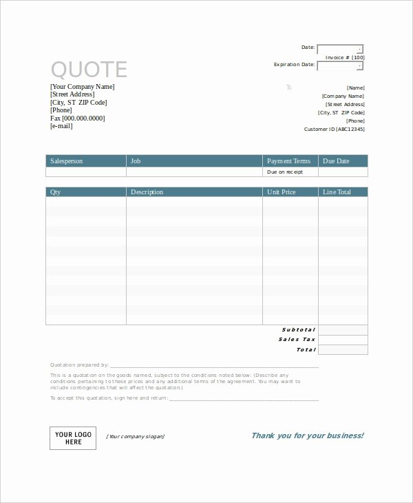 Travel Agent Quote Template Unique 53 Quotation Templates Pdf Doc Excel