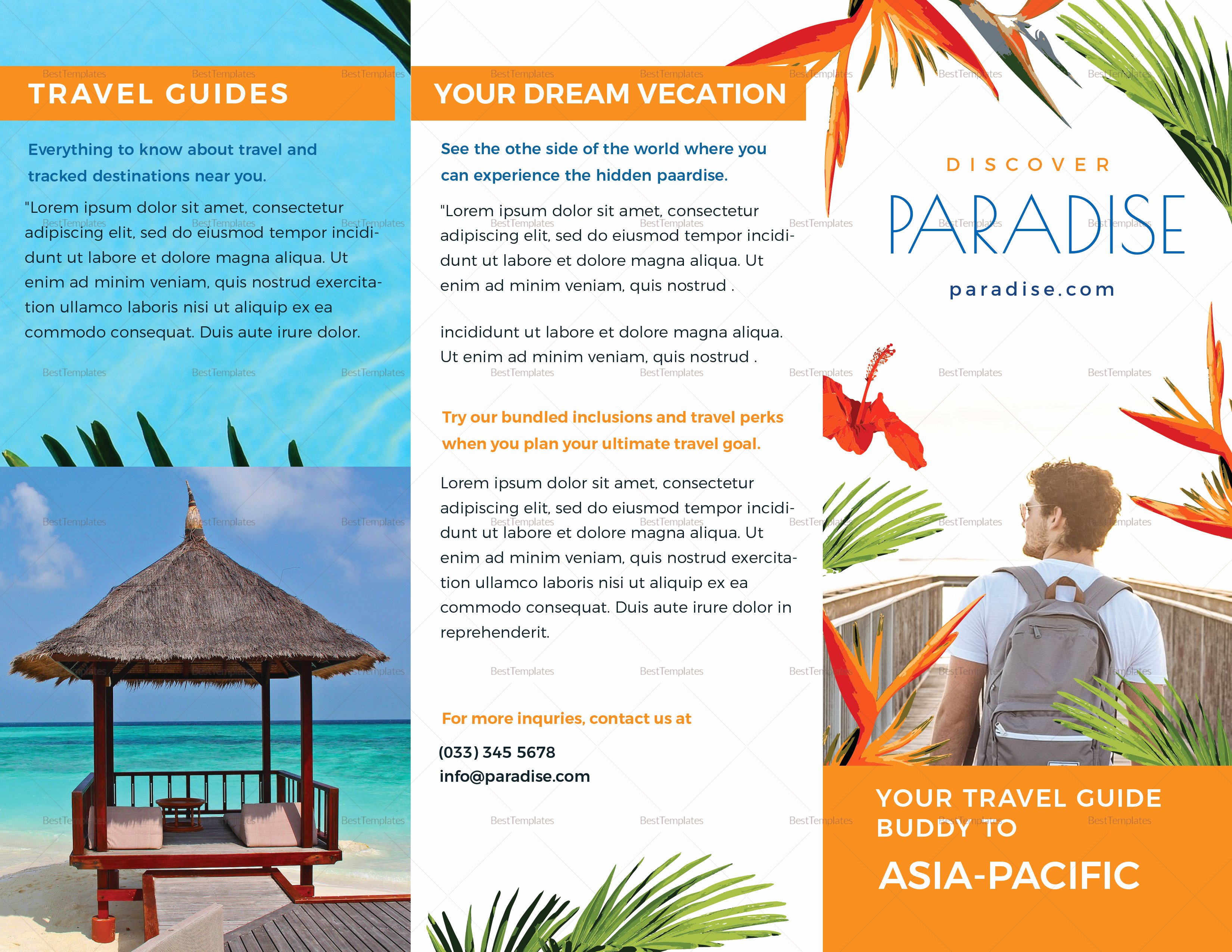 Travel Brochure Template Word Fresh Travel Tri Fold Brochure Design Template In Psd Word