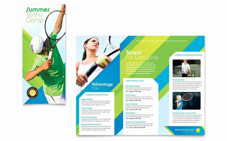 Travel Brochure Template Word Inspirational Tennis Club & Camp Tri Fold Brochure Template Word