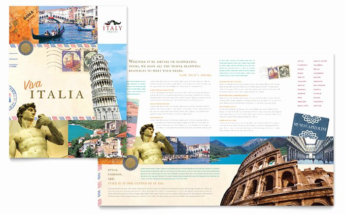 Travel Brochure Template Word Unique Italy Travel Brochure Template Design