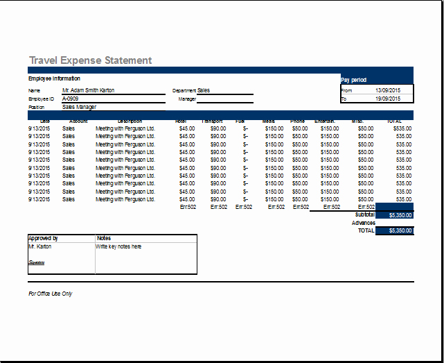 Travel Expense Report Template Elegant Ms Excel Travel Expense Report Template