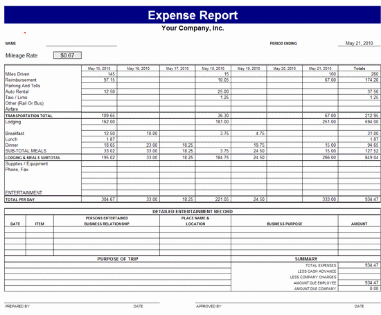 Travel Expense Report Template Inspirational Monthly Expense Report Template
