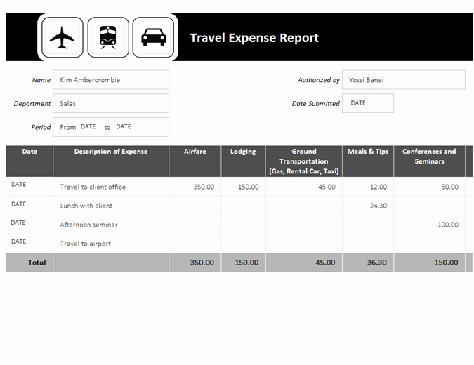 Travel Expense Report Template Lovely Travel Expense Report
