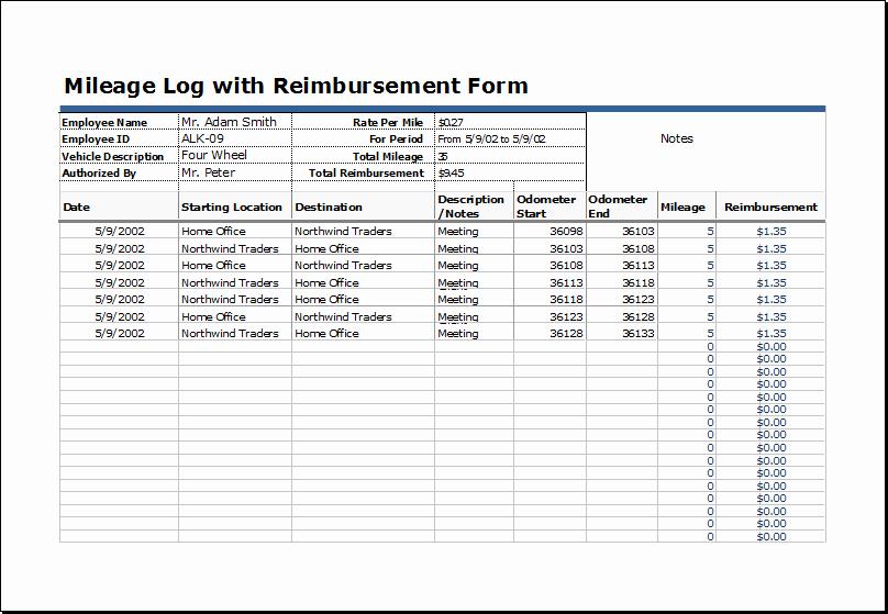 Travel Reimbursement form Template Best Of Mileage Reimbursement form Excel