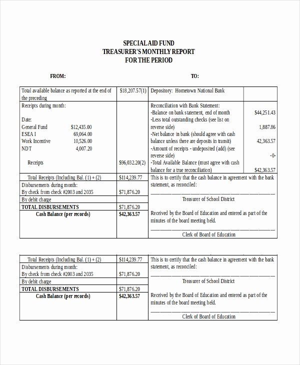 Treasurer Report Template Excel Best Of 32 Report Templates Free Sample Example format