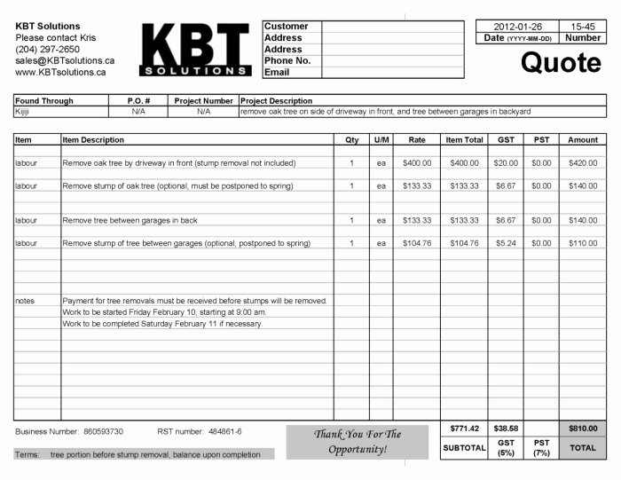 Tree Service Estimate Template Best Of Professional Quotes Receipts Example Tree Removal