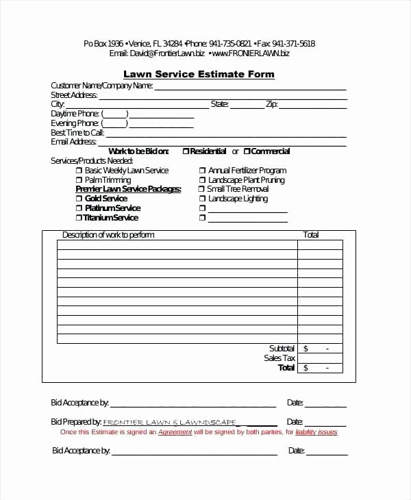 Tree Service Estimate Template Best Of Tree Trimming Proposal Template Free Printable Lawn