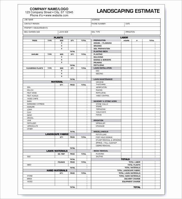 Tree Service Estimate Template Inspirational Mercial Landscaping Bid Template Templates Resume