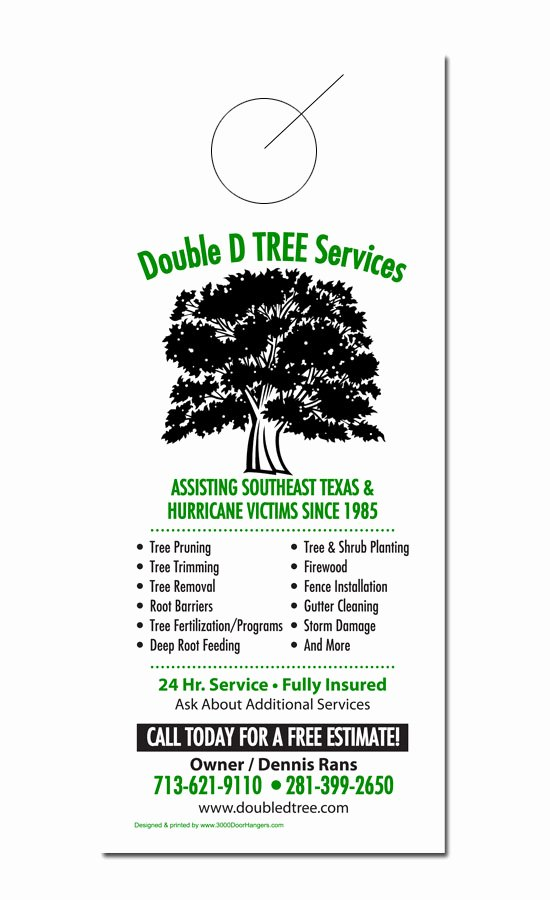 Tree Trimming Estimate Template Luxury Tree Service Door Hanger Samples