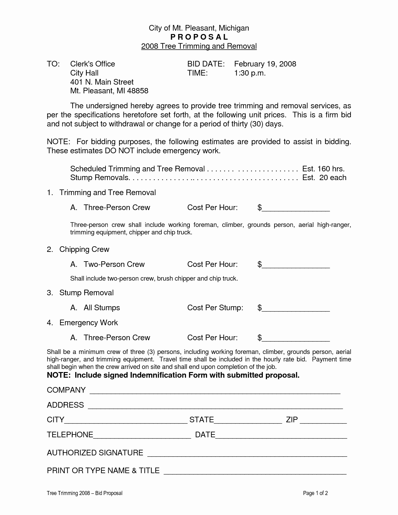 Tree Trimming Estimate Template New 10 Best Of Tree Removal forms Tree Removal