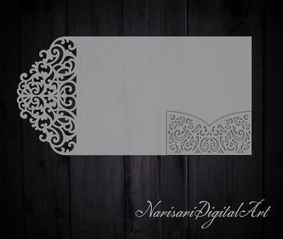 Tri Fold Invitation Template Beautiful Tri Fold 5x7 Wedding Invitation Pocket Envelope Svg