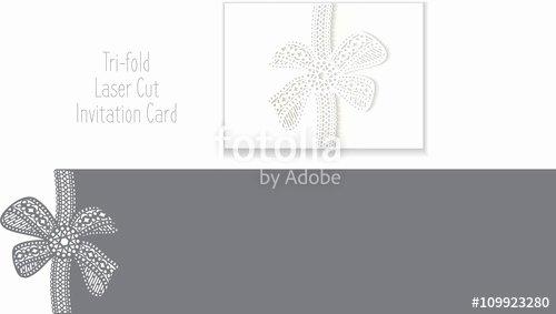 "Tri Fold Invitation Template Best Of ""tri Fold Laser Cut Invitation Card Laser Cut Pattern for"