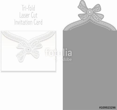 "Tri Fold Invitation Template Elegant ""tri Fold Laser Cut Invitation Card Laser Cut Pattern for"