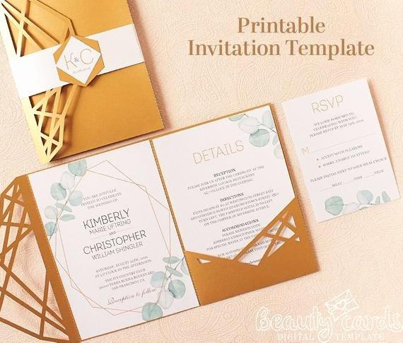 Tri Fold Invitation Template Inspirational Printable Greenery Wedding Invitation Template Tri Fold