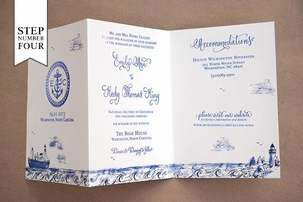 diy tutorial stamped nautical tri fold wedding invitation suite