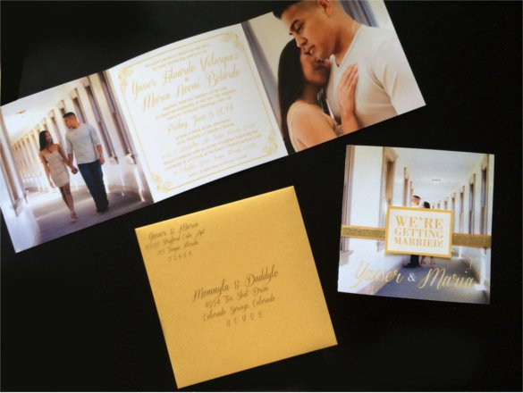 Tri Fold Invitations Template Elegant 19 Trifold Wedding Invitation Templates – Free Sample