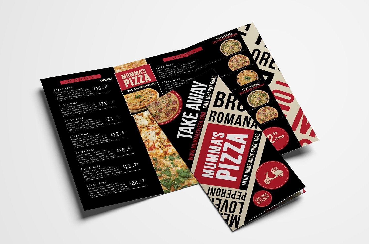 Tri Fold Menu Template Beautiful Trifold Pizza Menu Template Brochure Templates