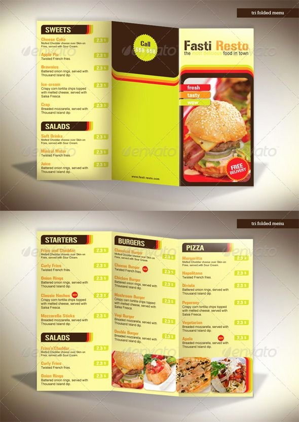Tri Fold Menu Template Best Of 60 Premium Restaurant Menu Templates Dzineflip