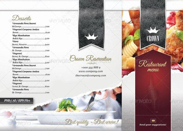 Tri Fold Menu Template Elegant 40 Psd & Indesign Food Menu Templates for Restaurants