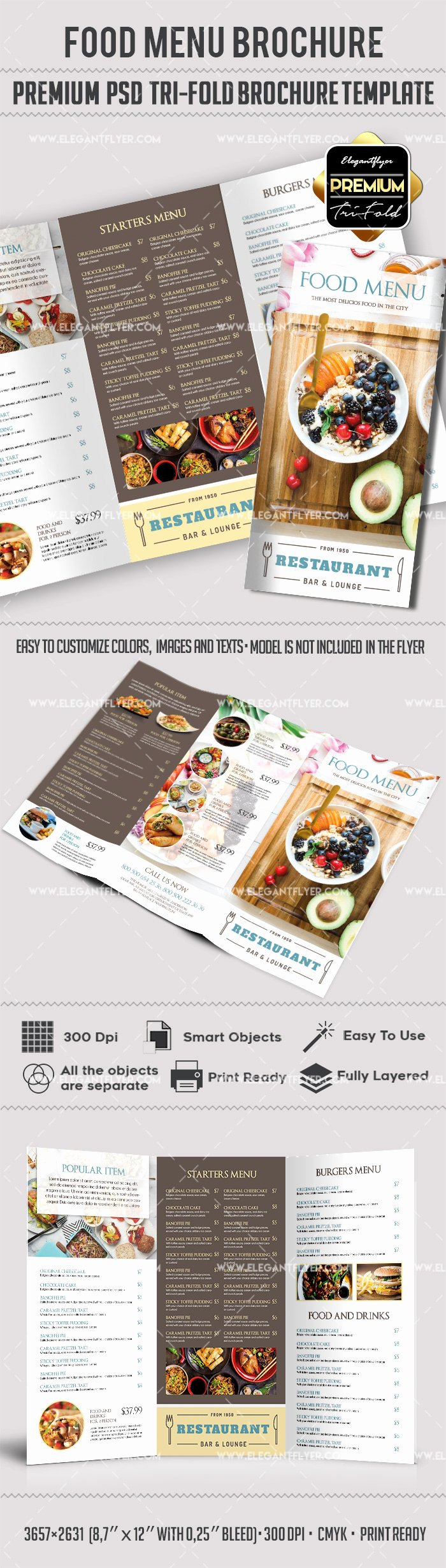 Tri Fold Menu Template Elegant Food Menu – Premium Tri Fold Psd Brochure Template – by