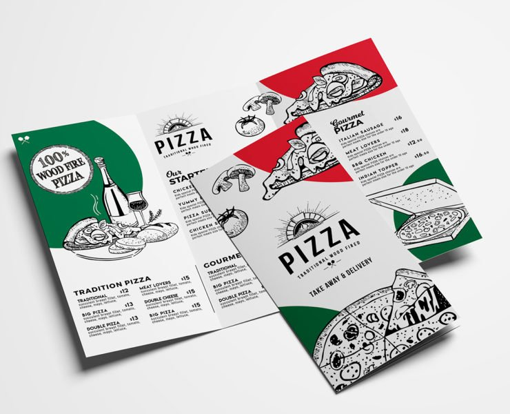 Tri Fold Menu Template Elegant Tri Fold Pizza Menu Template In Psd Ai & Vector Brandpacks