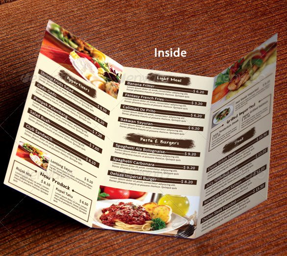 Tri Fold Menu Template Fresh 51 Restaurant Menu Templates Design Psd Docs Pages
