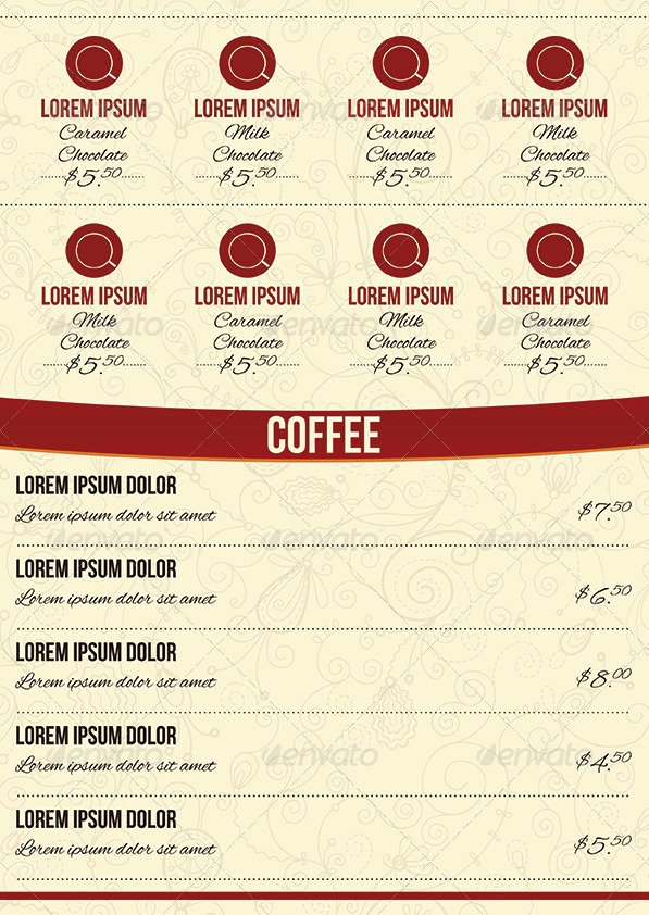 Tri Fold Menu Template Fresh Cafe Tri Fold & A4 Menu Template by Erseldondar