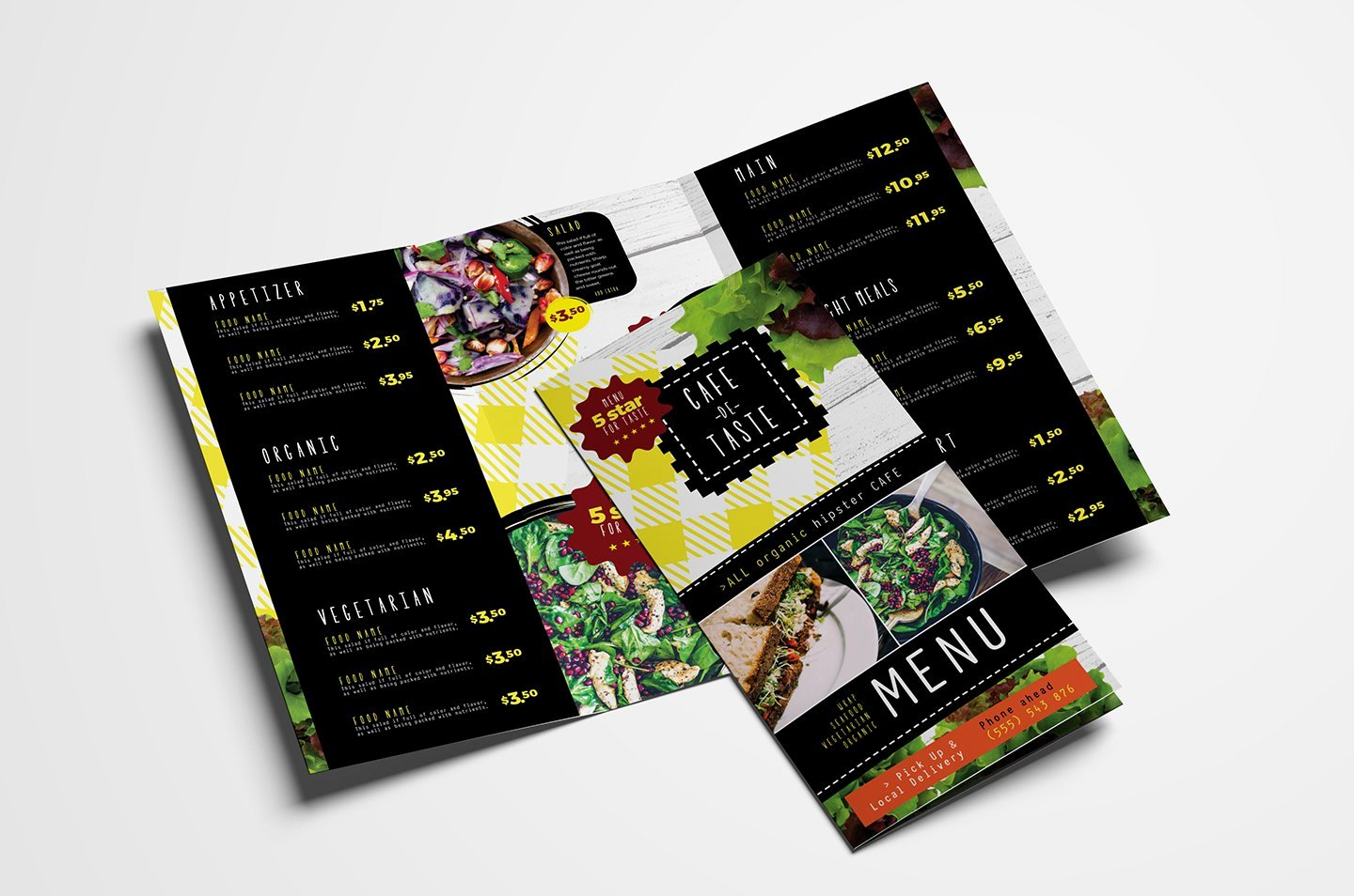 Tri Fold Menu Template New Trifold Salad Menu Template Brochure Templates