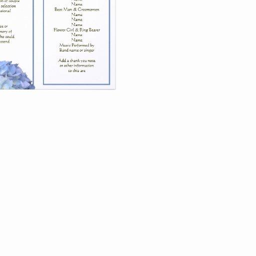 Tri Fold Program Template Awesome Tri Fold Blue Hydrangea Wedding Program Letterhead