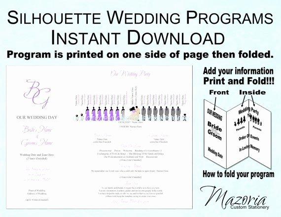Tri Fold Program Template Beautiful Silhouette Wedding Programs Diy Tri Fold Customizable